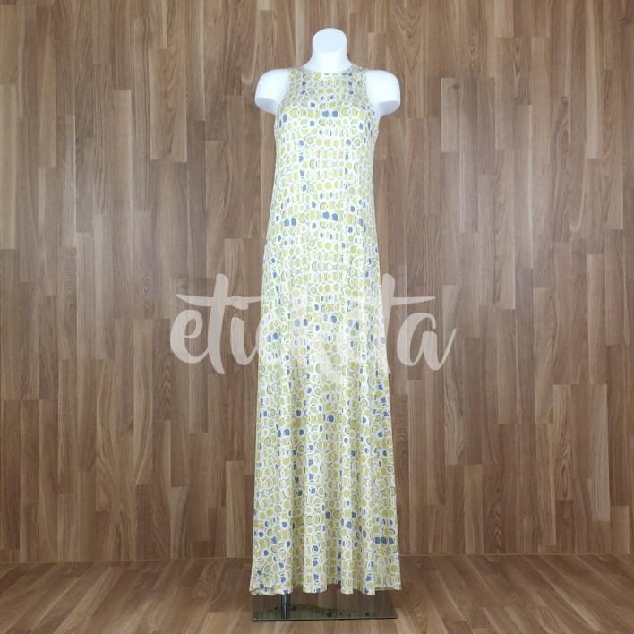 Vestido largo sin mangas estampado aros amarillo