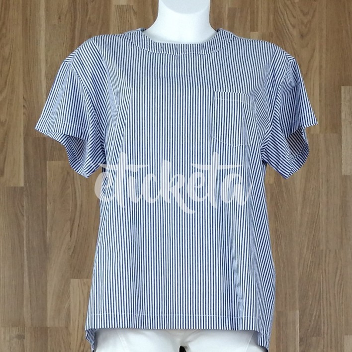 Camisa rayas lazada trasera azul marino