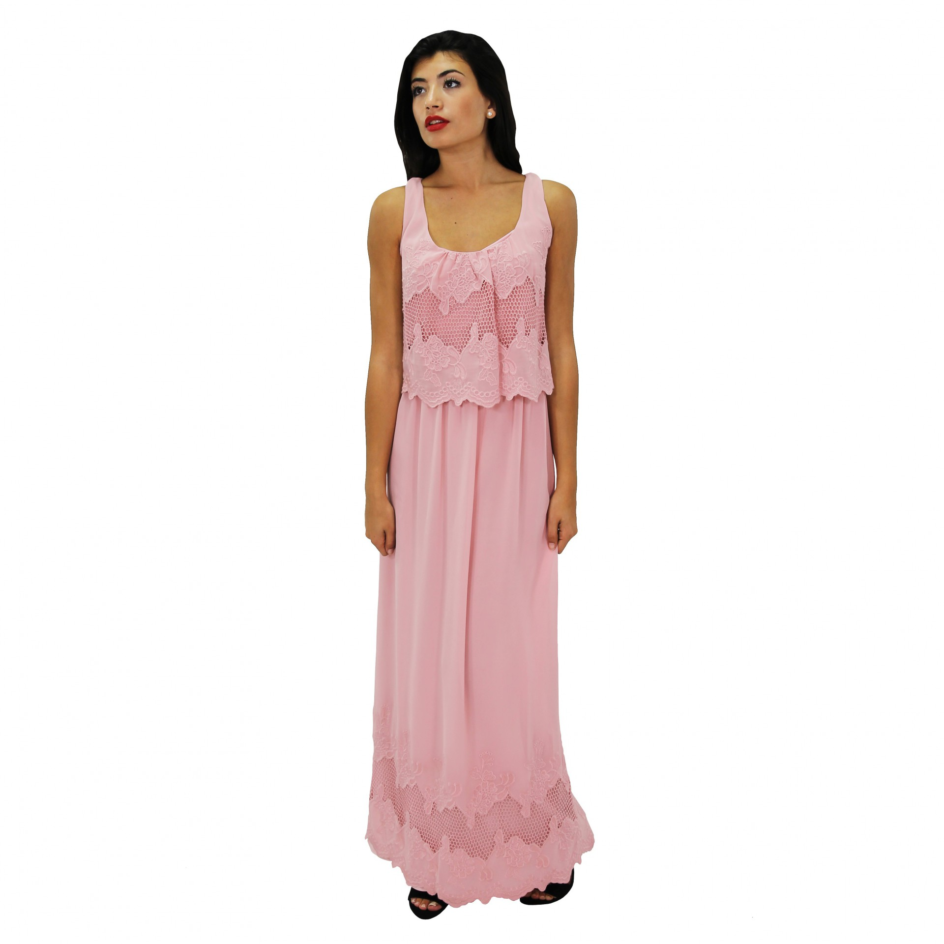 Vestido largo bordado rosa -50% BLUMARINE