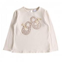 Camiseta zapataillas con lacitos en tono crudo