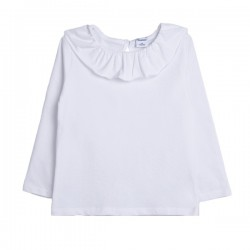 Camiseta básica con cuello con volante blanco