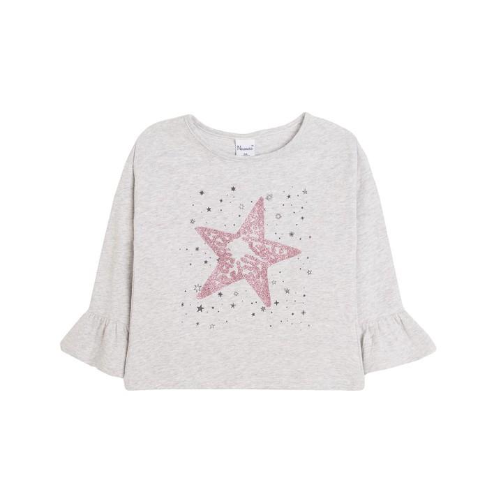 Camiseta con estrellas y mangas con volantes gris claro