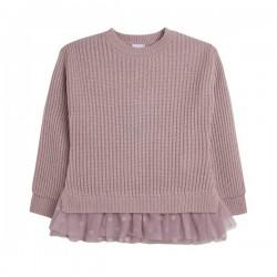 Jersey con tul lunares en el bajo rosa
