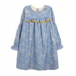 Vestido con estampado en fondo azul y ribete amarillo