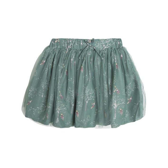Falda estampado niños columpios verde