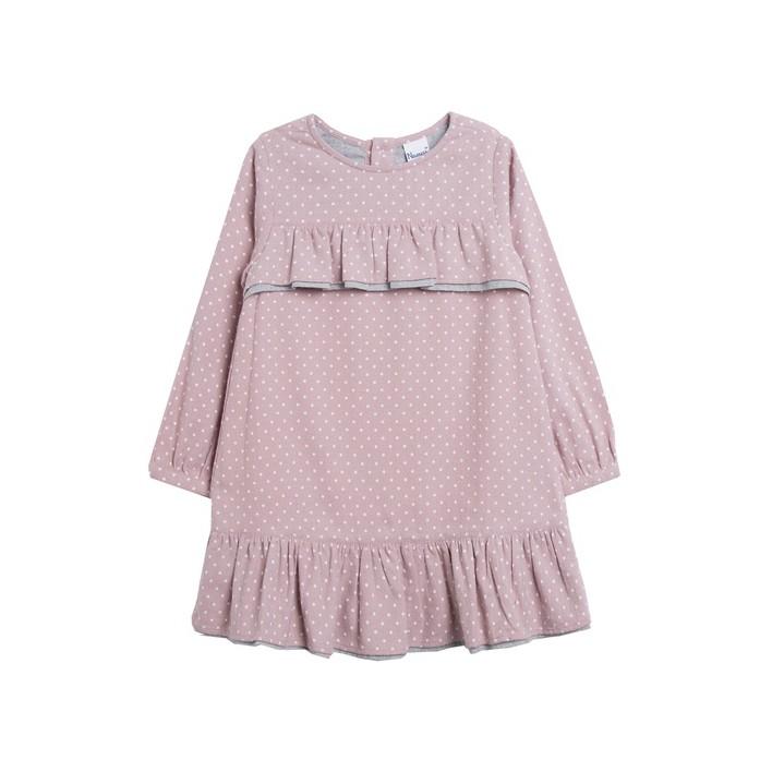 Vestido franela con estampado de lunares rosa