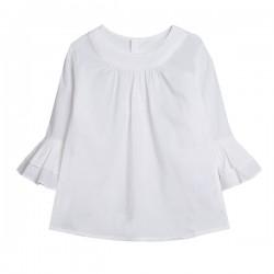 Blusa manga francesa con dos capas volantes blanca