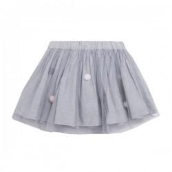 Falda tul con pompones en tono gris