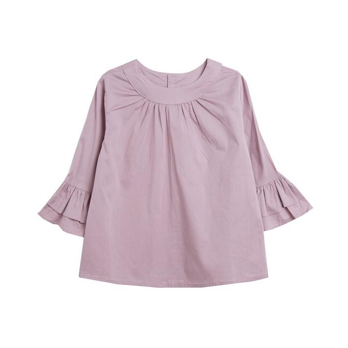 Blusa manga francesa con dos capas volantes rosa