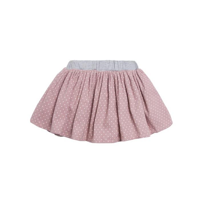 Falda con estampado de lunares rosa y cinturilla gris