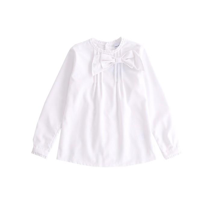 Camisa con lazo y jaretas algodón blanco