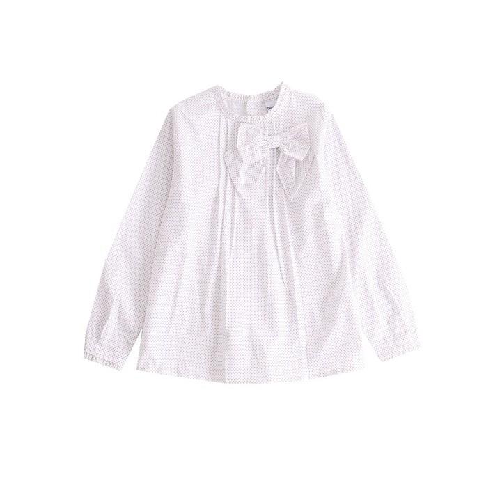 camisa con estampado lunares y lazada