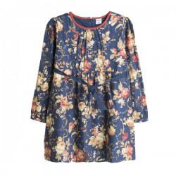 Vestido azul con estampado de flores y ribete rojo