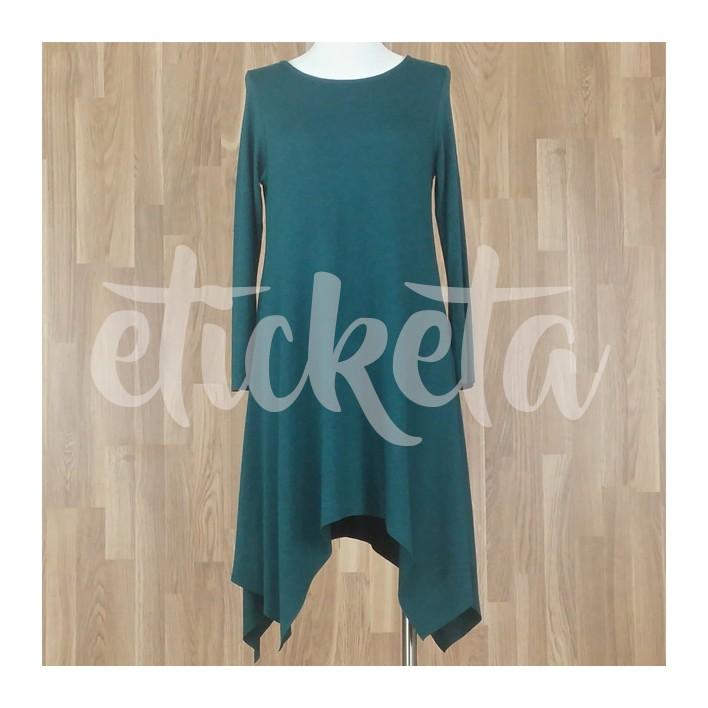 Vestido con bajo asimétrico picos punto liso verde