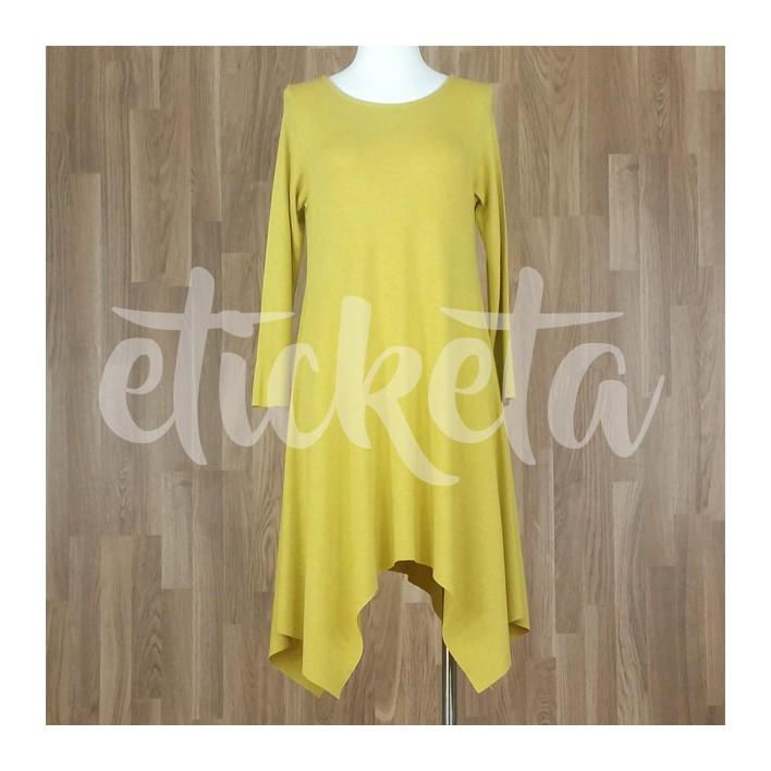 Vestido con bajo asimétrico picos punto liso amarillo
