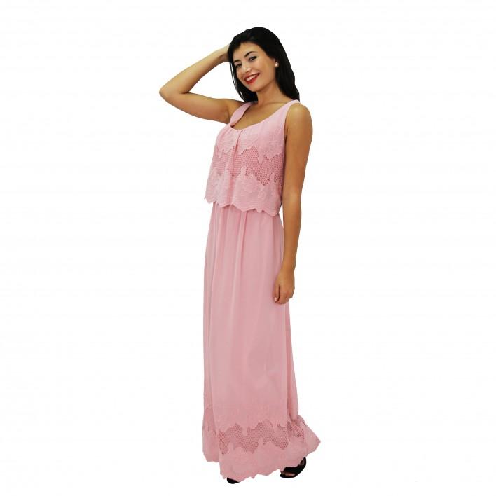 Vestido largo bordado rosa BLUMARINE