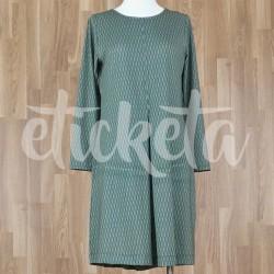 Vestido manga tres cuartos y fuelle con estampado espigas verdes