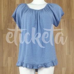 Camiseta fruncido plumetti azul