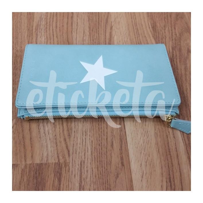 Monedero grande azul estrella