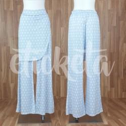 Pantalón con sobrefalda estampado lunares azul