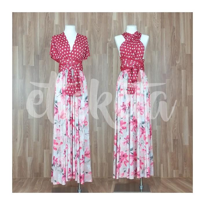 Vestido largo cuello multiposiciones estampado lunares + flores rojo