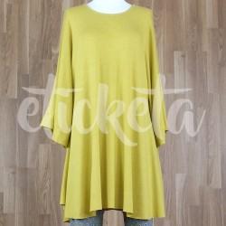Vestido/ blusón con manga acampanada punto liso amarillo