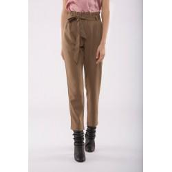 Pantalón marrón claro cintura alta volantes y lazada