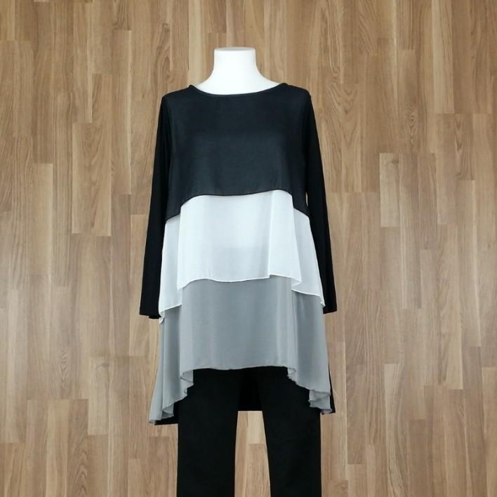 Blusón largo o vestido tres colores negro-crudo-gris