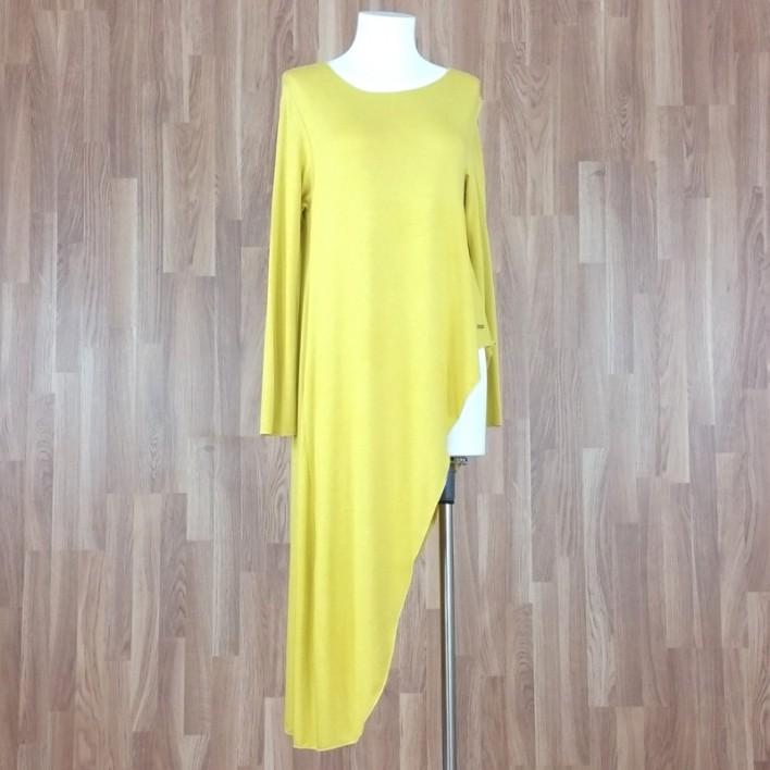 Jersey manga larga asimétrico punto liso amarillo