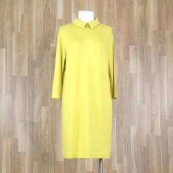 Vestido cuello camisa en punto liso amarillo