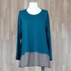 Vestido combinado punto liso verde y estampado sol verde
