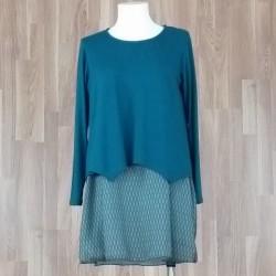 Jersey/vestido combinado punto liso + bajo estampado espiga verde