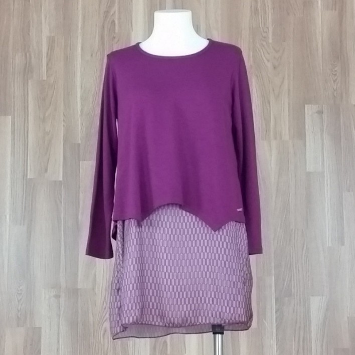Jersey/vestido combinado punto liso + bajo estampado espiga buganvilla