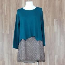 Jersey/vestido combinado punto liso + bajo estampado sol verde
