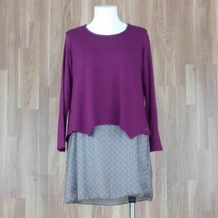 Jersey/vestido combinado punto liso + bajo estampado sol buganvilla