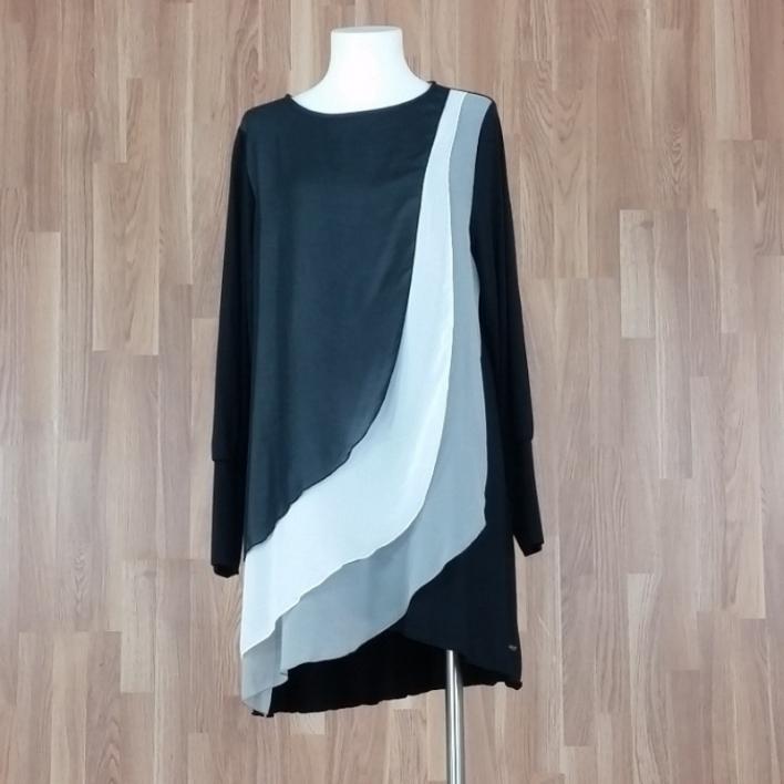 Vestido/blusón combinado lateral negro crudo gris