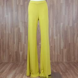 Pantalón ancho punto liso amarillo
