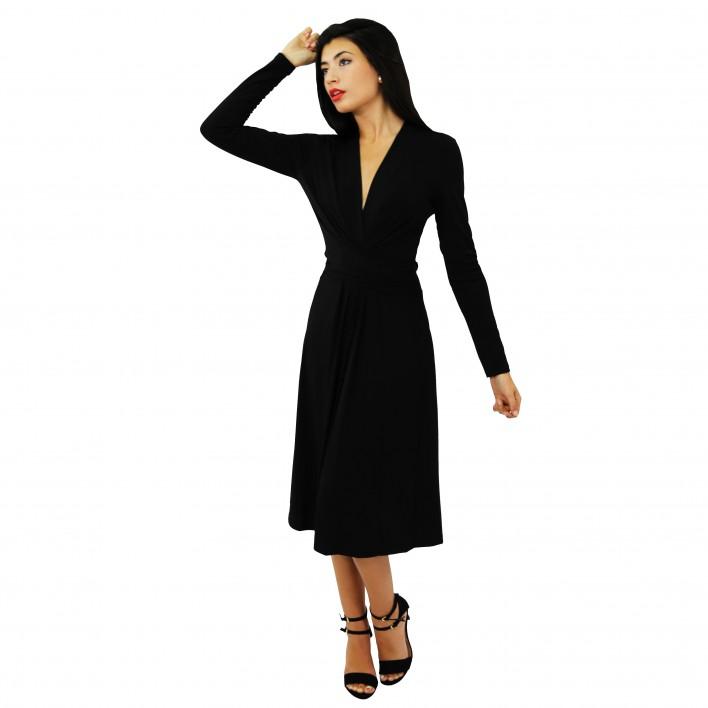 Vestido drapeado negro MICHAEL KORS