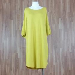 Vestido manga tres cuartos amplia punto amarilla
