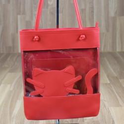 Bolso gato transparente rojo
