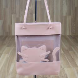 Bolso gato transparente rosa