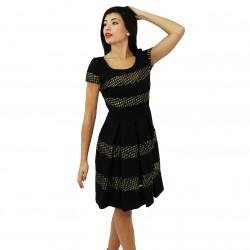 Vestido franjas negro/dorado BLUMARINE