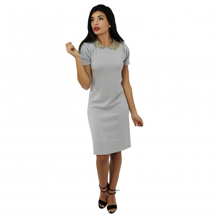 Vestido lana m/c taupe BLUMARINE