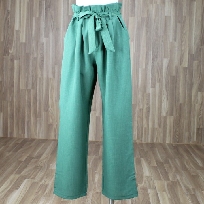 Pantalón paper bag verde