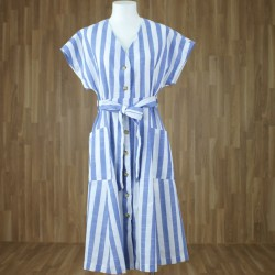 Vestido rayas azul medio