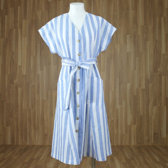 Vestido rayas azul claro