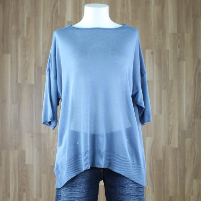 Jersey manga corta punto fino azul