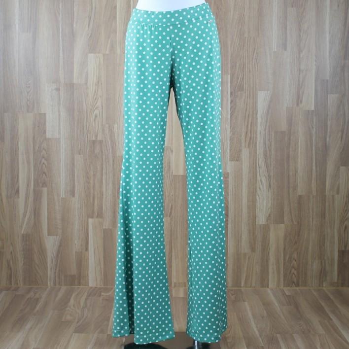 Pantalón fluido estampado lunares verde