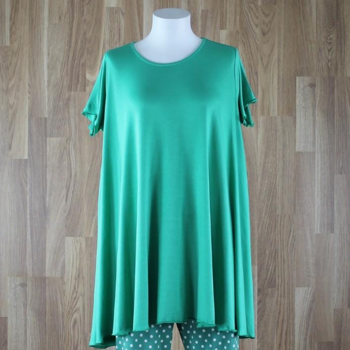 Camiseta de manga corta con vuelo liso verde
