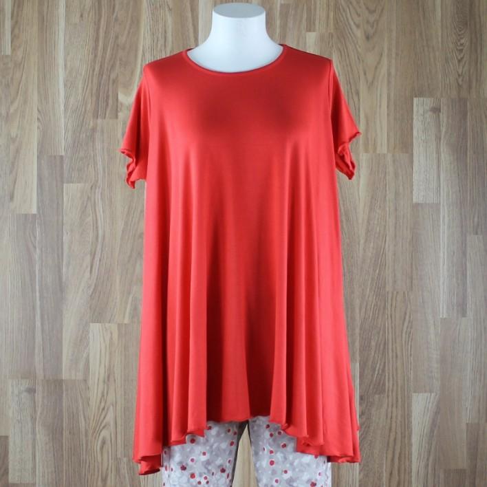 Camiseta de manga corta con vuelo liso rojo
